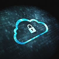 18456950 - networking concept pixelated cloud whis padlock icon on digital background, 3d render