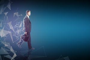 Side view of walking businessman with briefcase and abstract polygonal pattern. Blue background with copy space
