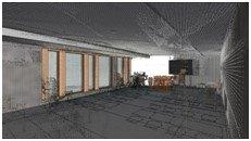 Der Scan des Gebäudeinneren lässt sich in ein 3D-CAD-Modell überführen.
