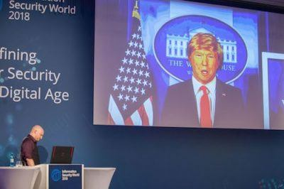 David Wollmann, Executive Consultant bei NTT Security, präsentiert beim Vortrag Replacing Reality auf der ISW 2018 ein Fake-Video mit Donald Trump.  (Quelle: NTT Security)