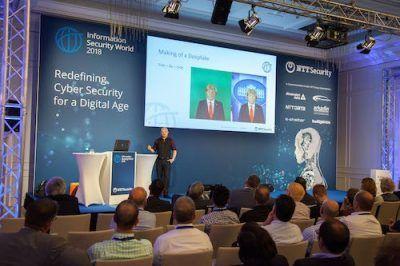 David Wollmann, Executive Consultant bei NTT Security, erklärt auf der ISW 2018, wie Deepfakes entstehen. (Quelle: NTT Security)