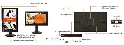 Anschlussvielfalt: Das XDS-2288-Smart-Signboard im 21,5-Zoll-Format von IAdea Deutschland