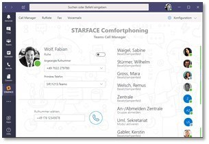 UCC-Features von Starface in Microsoft-Teams