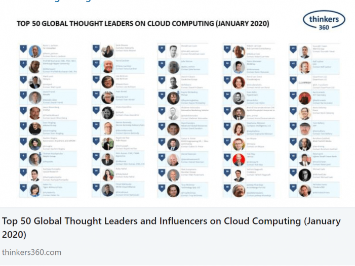 Netzpalaver in den Top 50 Global Thought Leaders and Influencer on Cloud Computing
